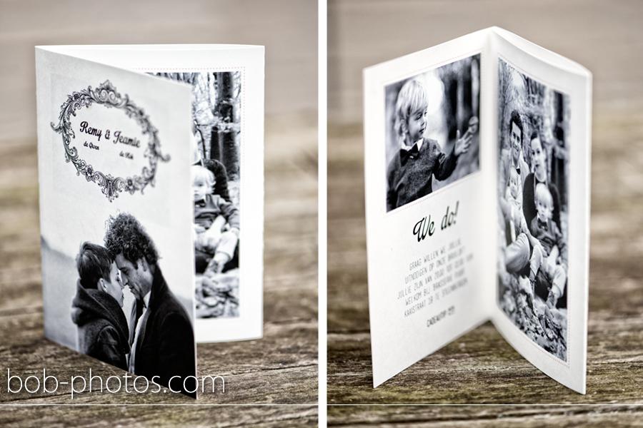 Extreem Vintage style trouwkaart met envelop Remy & Jeamie @EC44