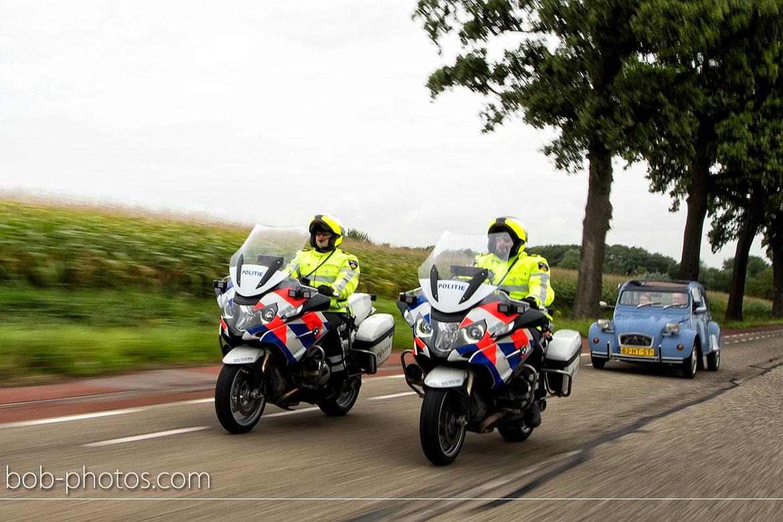 bruidsfotografie motorpolitie begeleiding