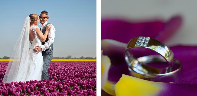 Gekleurde tulpenvelden Bruidsfotografie Tholen